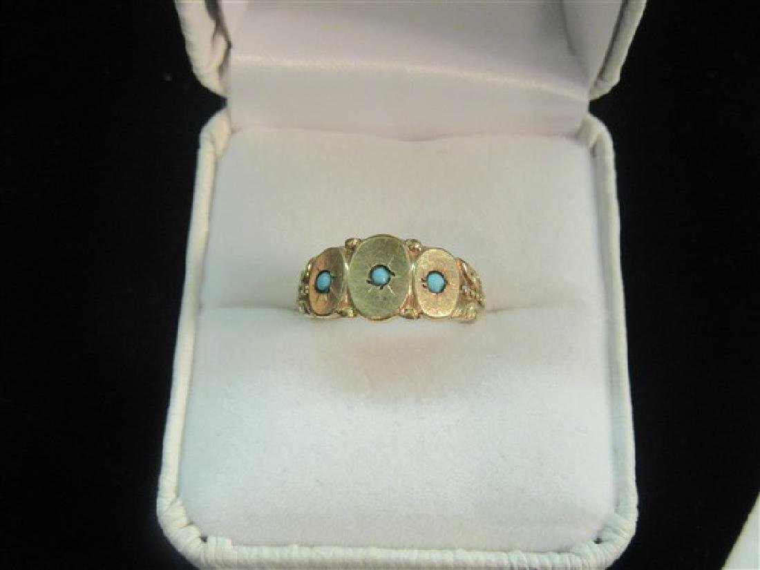 Victorian Rose Gold Turquoise Ring