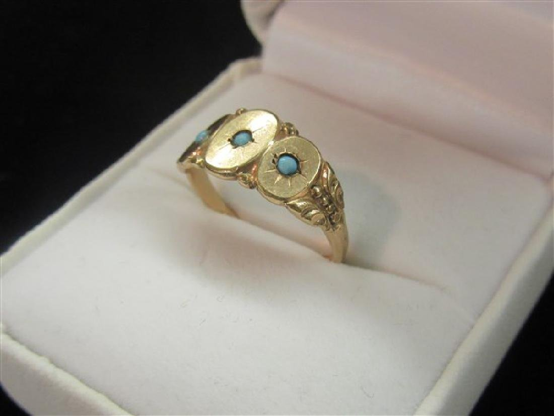 Victorian Rose Gold Turquoise Ring - 2