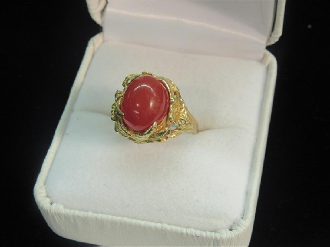 14K Yellow Gold Floral Form Carnelian Ring