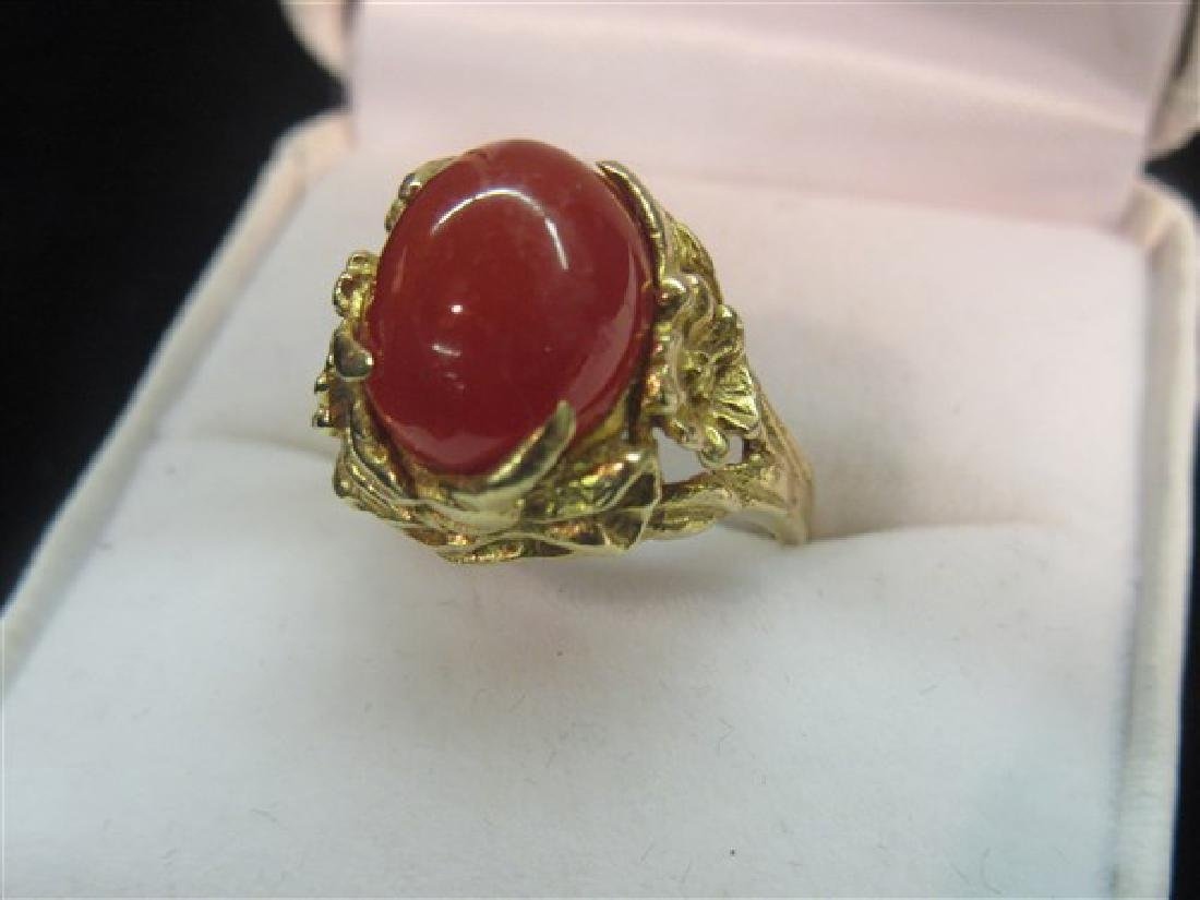 14K Yellow Gold Floral Form Carnelian Ring - 2