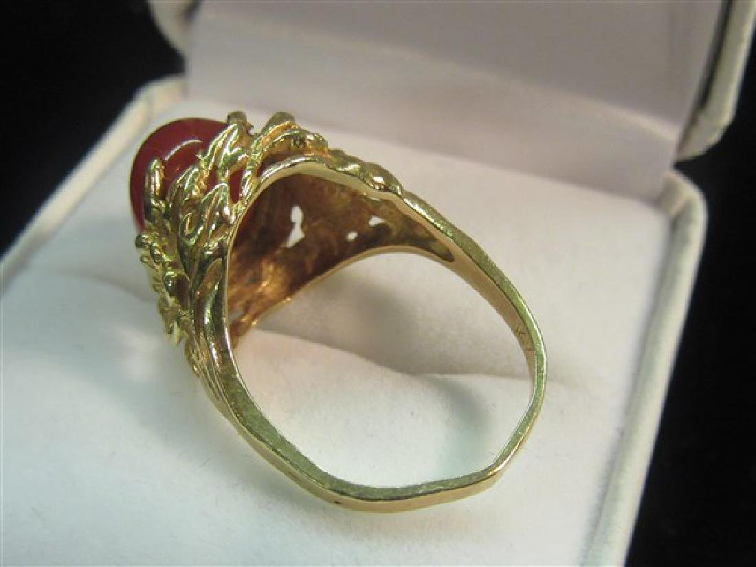 14K Yellow Gold Floral Form Carnelian Ring - 3