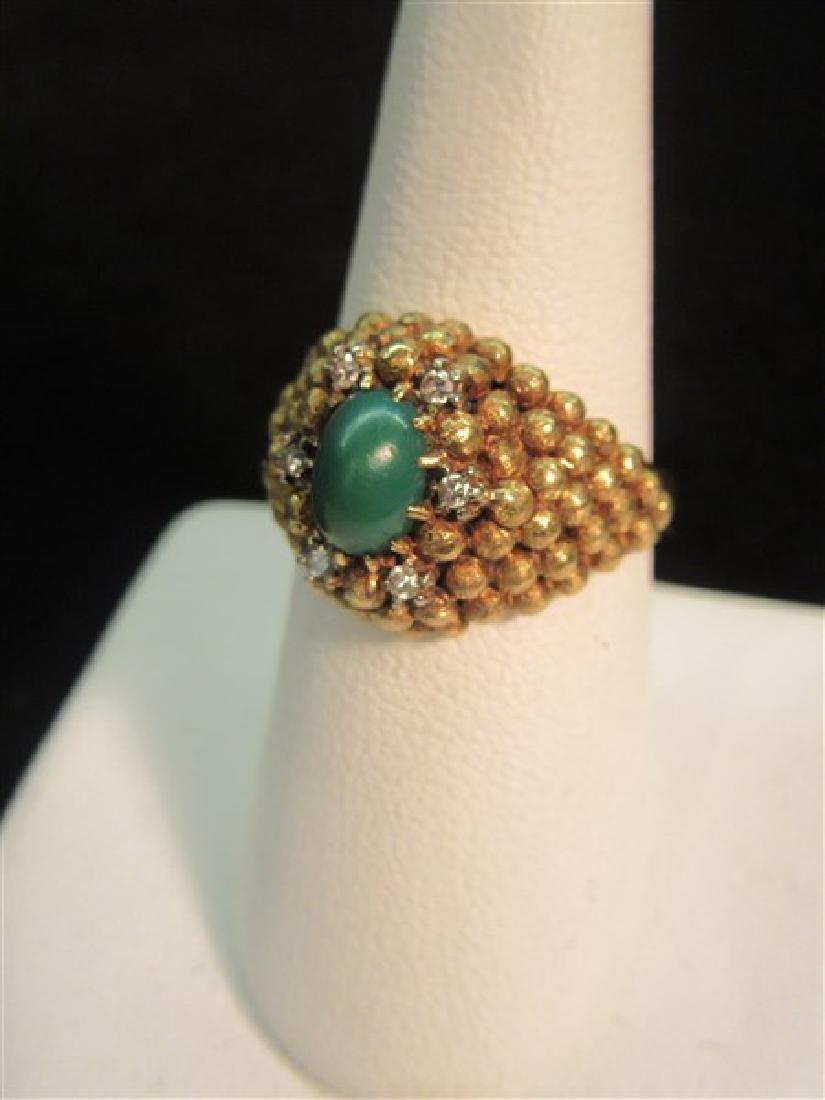 18K Yellow Gold Jade And Diamond Ring