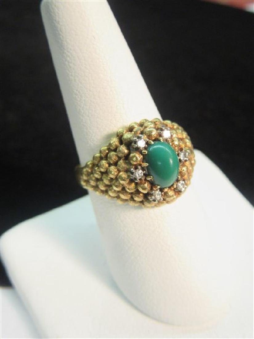 18K Yellow Gold Jade And Diamond Ring - 2