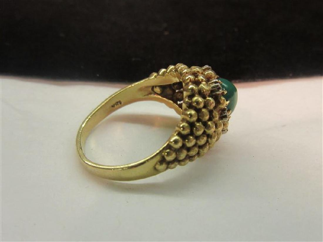 18K Yellow Gold Jade And Diamond Ring - 3