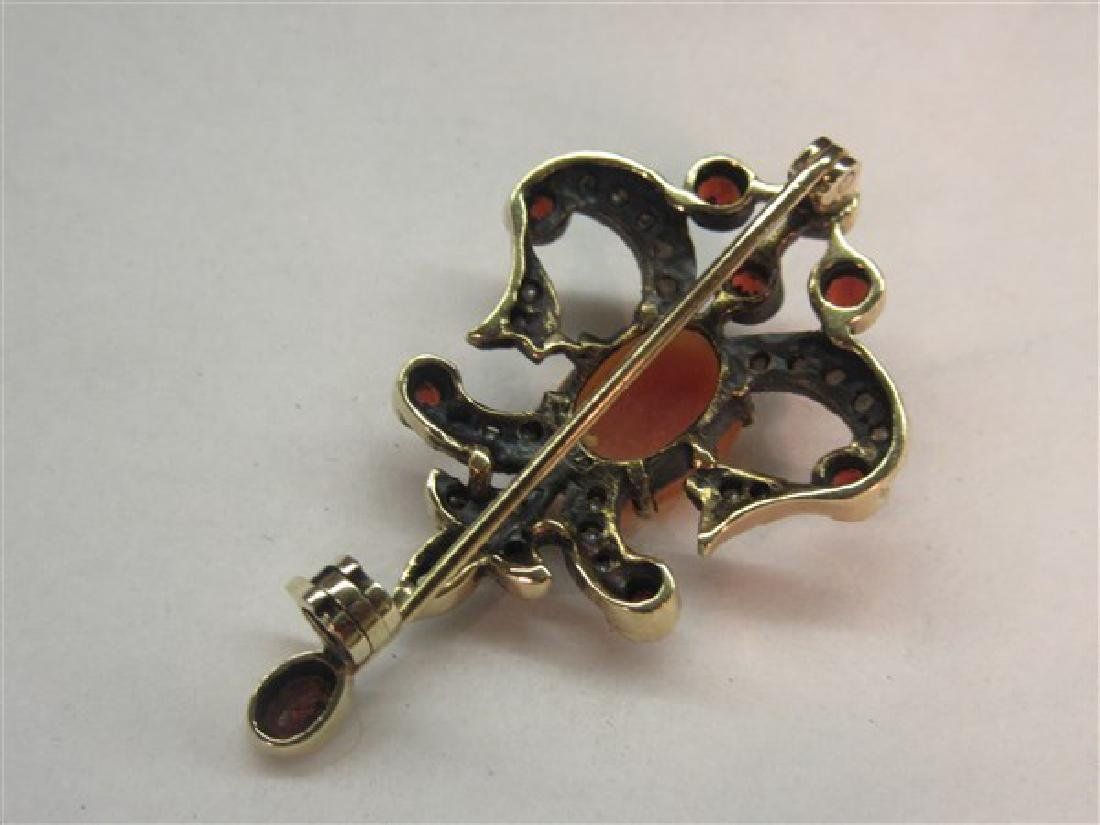 Victorian Cameo Garnet And Seed Pearl Pin - 3