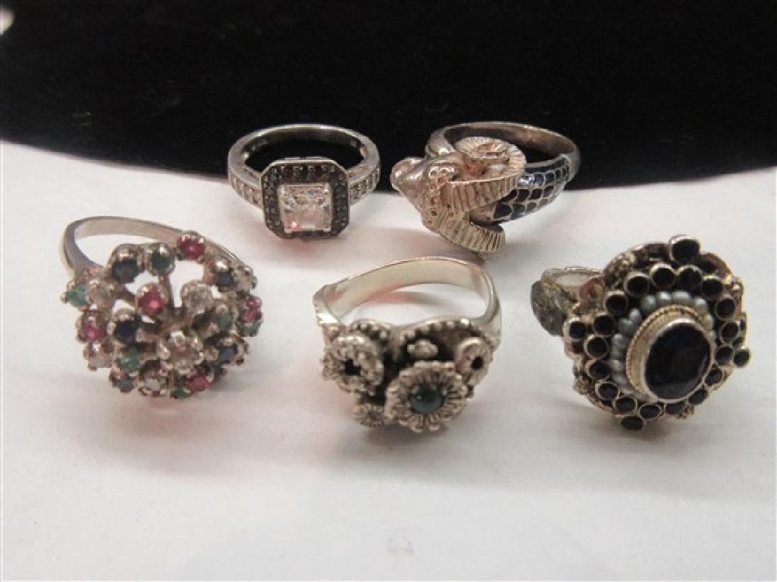 Five (5) Sterling Silver Gemstone Rings