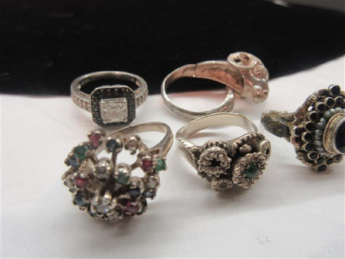 Five (5) Sterling Silver Gemstone Rings - 4