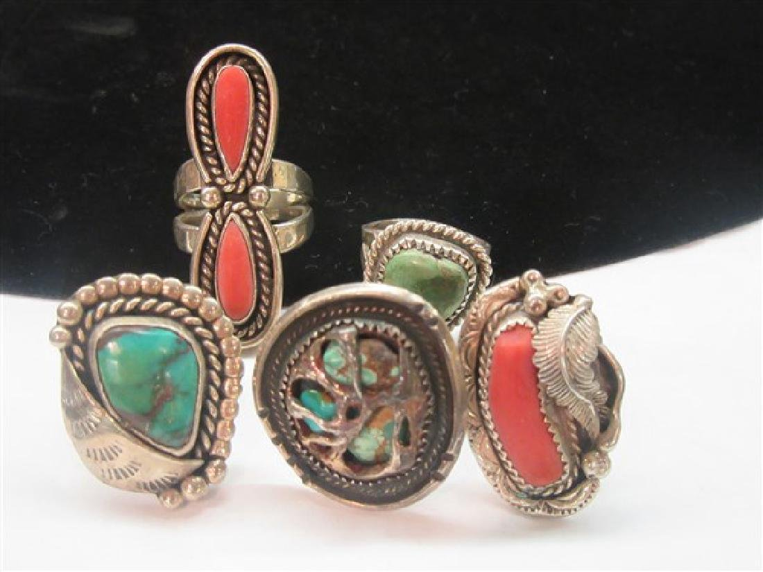 Five (5) Native American Indian Turquoise Coral Rings