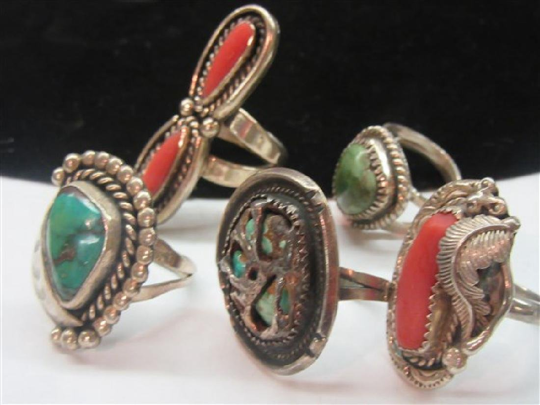 Five (5) Native American Indian Turquoise Coral Rings - 2