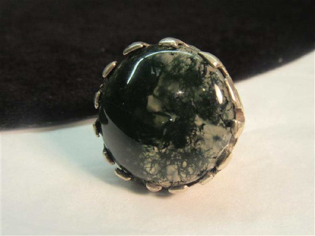 Brutalist Vintage Silver Moss Agate Ring