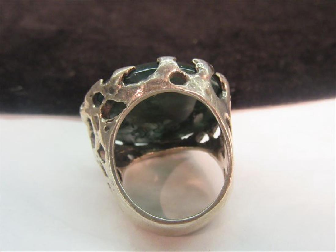Brutalist Vintage Silver Moss Agate Ring - 2