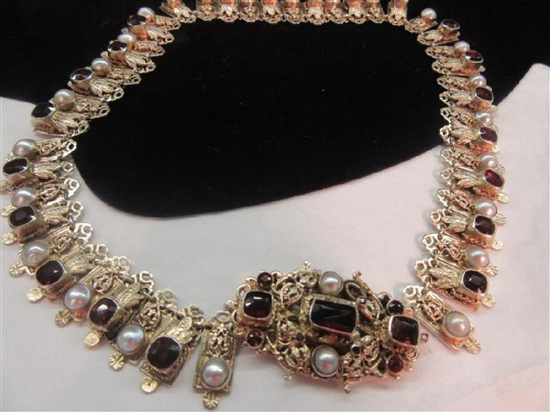 Antique Garnet And Pearl Gemstone Necklace