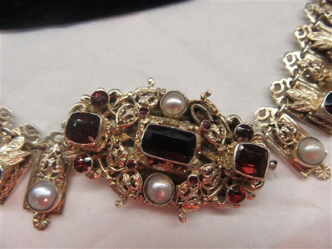 Antique Garnet And Pearl Gemstone Necklace - 2