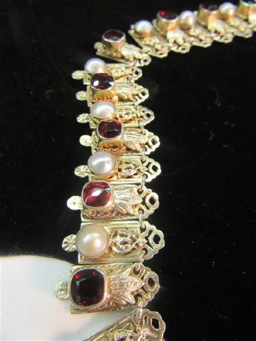 Antique Garnet And Pearl Gemstone Necklace - 3