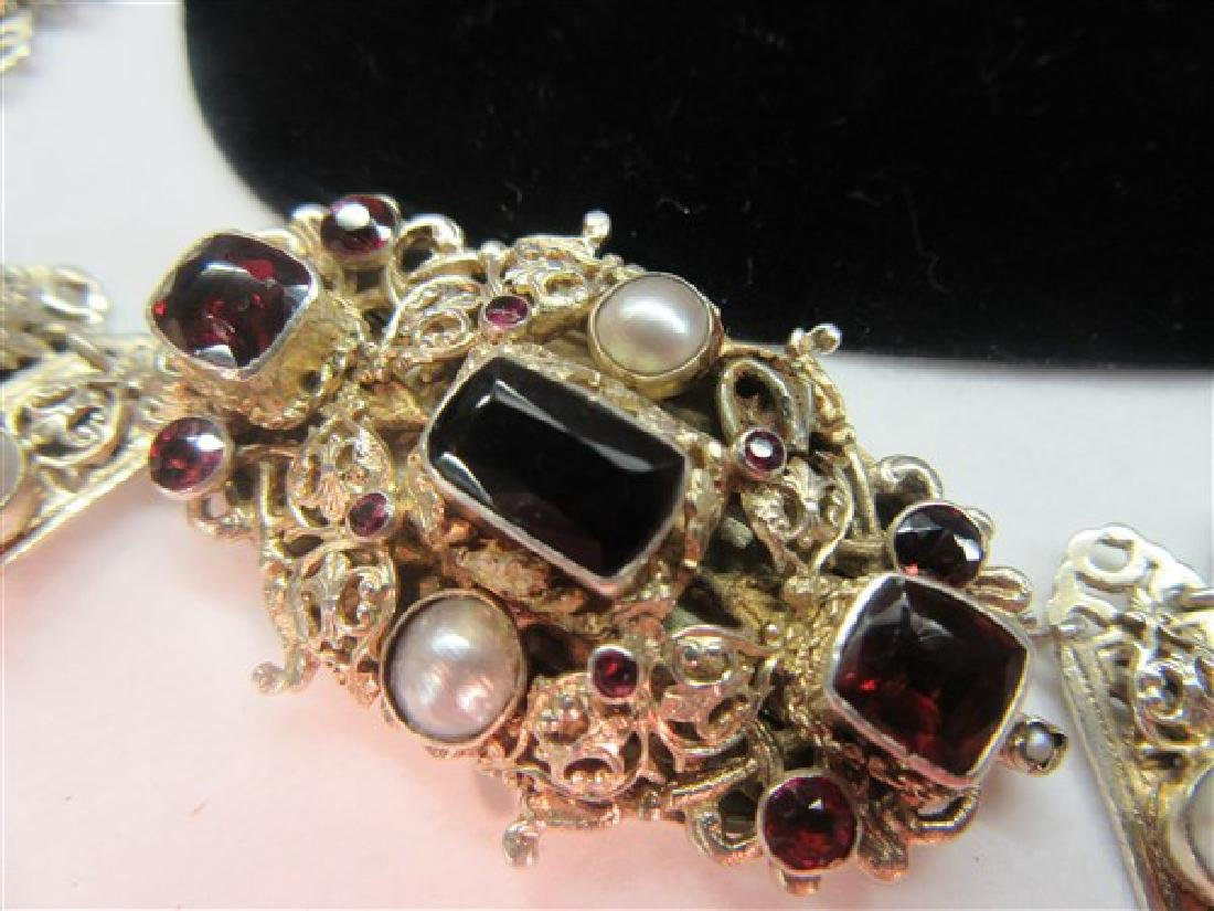 Antique Garnet And Pearl Gemstone Necklace - 4