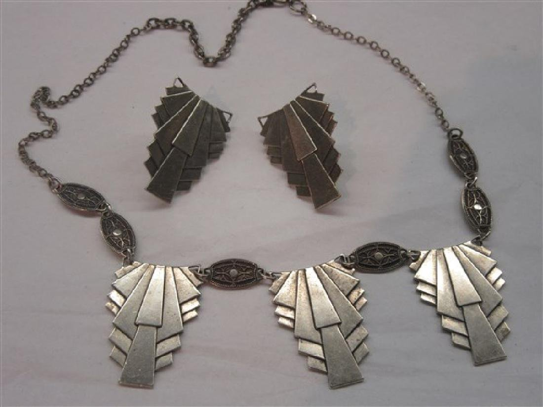 Art Deco Sterling Silver Necklace And Earrings Set