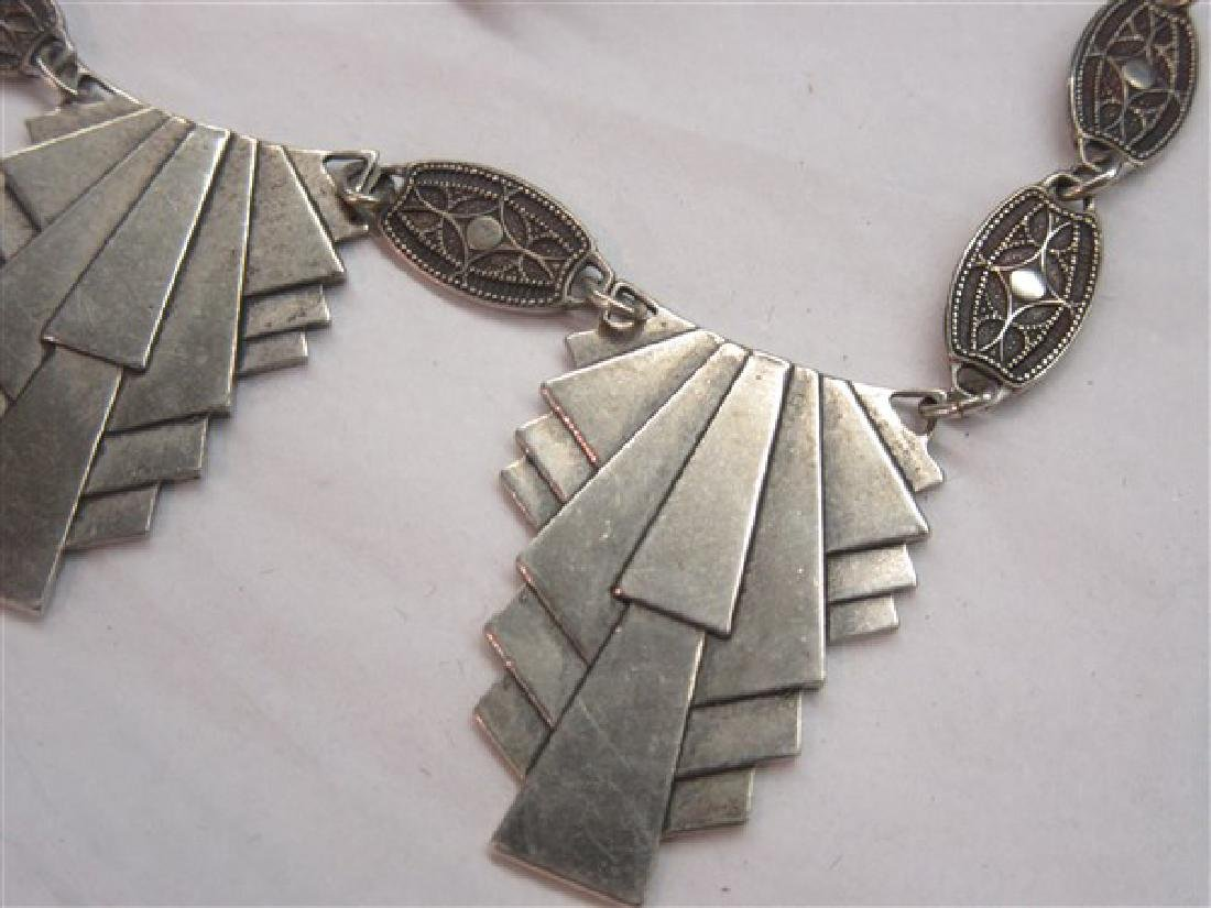 Art Deco Sterling Silver Necklace And Earrings Set - 3
