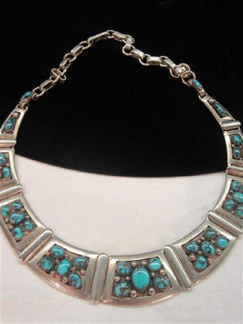 Frank Patania Sterling Silver Turquoise Choker Necklace