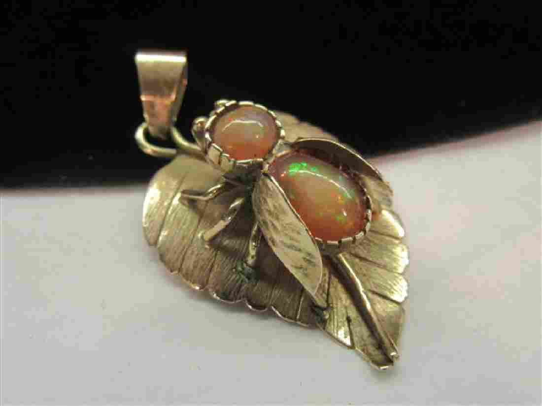 14K Yellow Gold Fire Opal Bug Pendant