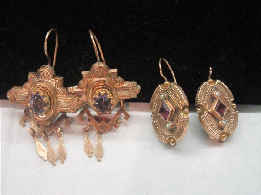 Two (2) Pairs 14K Yellow Gold Amethyst Earrings