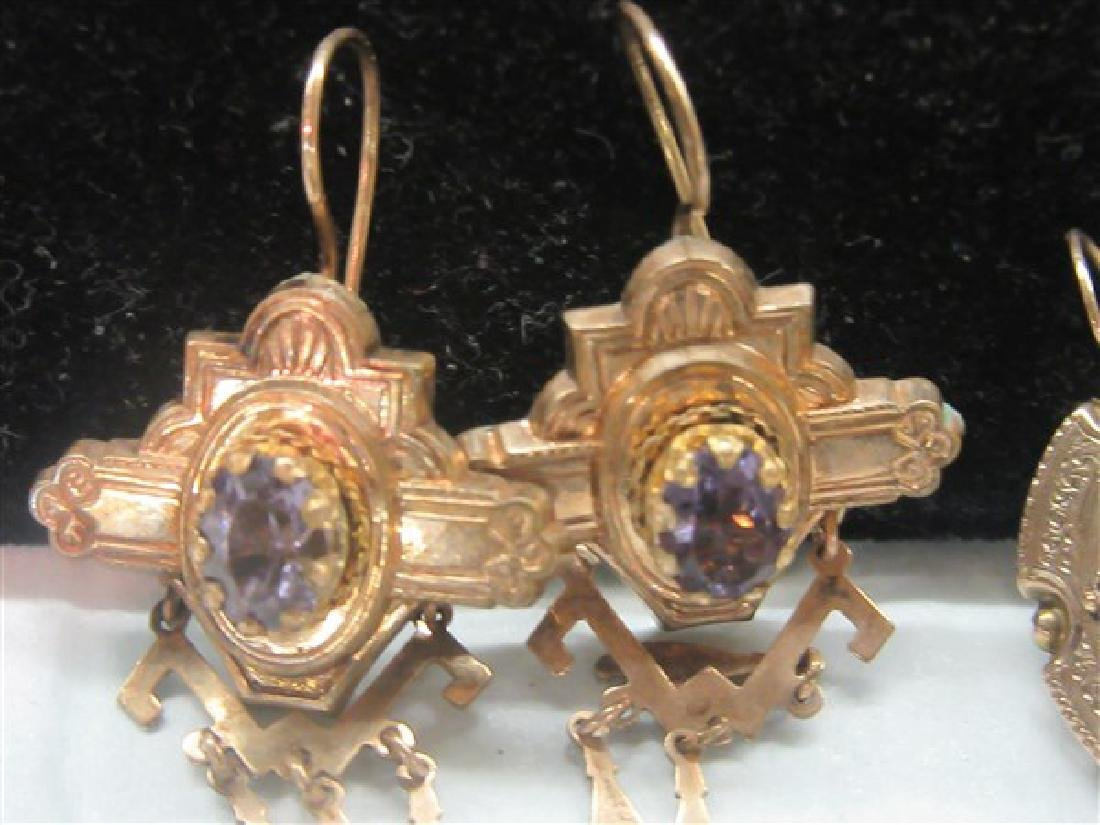 Two (2) Pairs 14K Yellow Gold Amethyst Earrings - 2