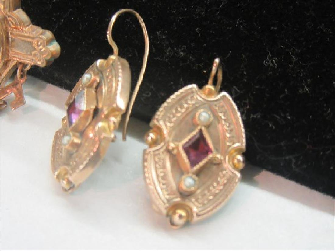 Two (2) Pairs 14K Yellow Gold Amethyst Earrings - 3