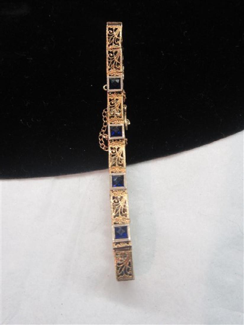 14K Yellow Gold  Blue Sapphire Filigree Bracelet