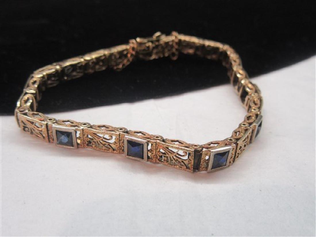 14K Yellow Gold  Blue Sapphire Filigree Bracelet - 3