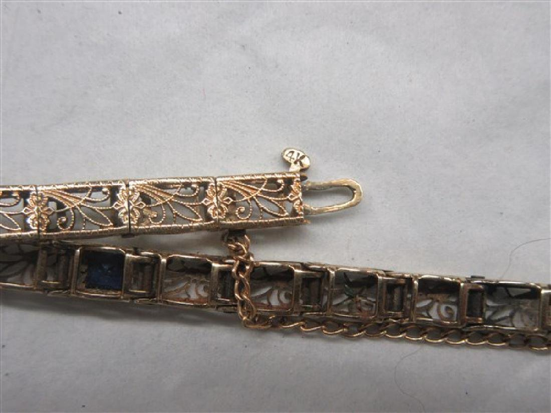 14K Yellow Gold  Blue Sapphire Filigree Bracelet - 4
