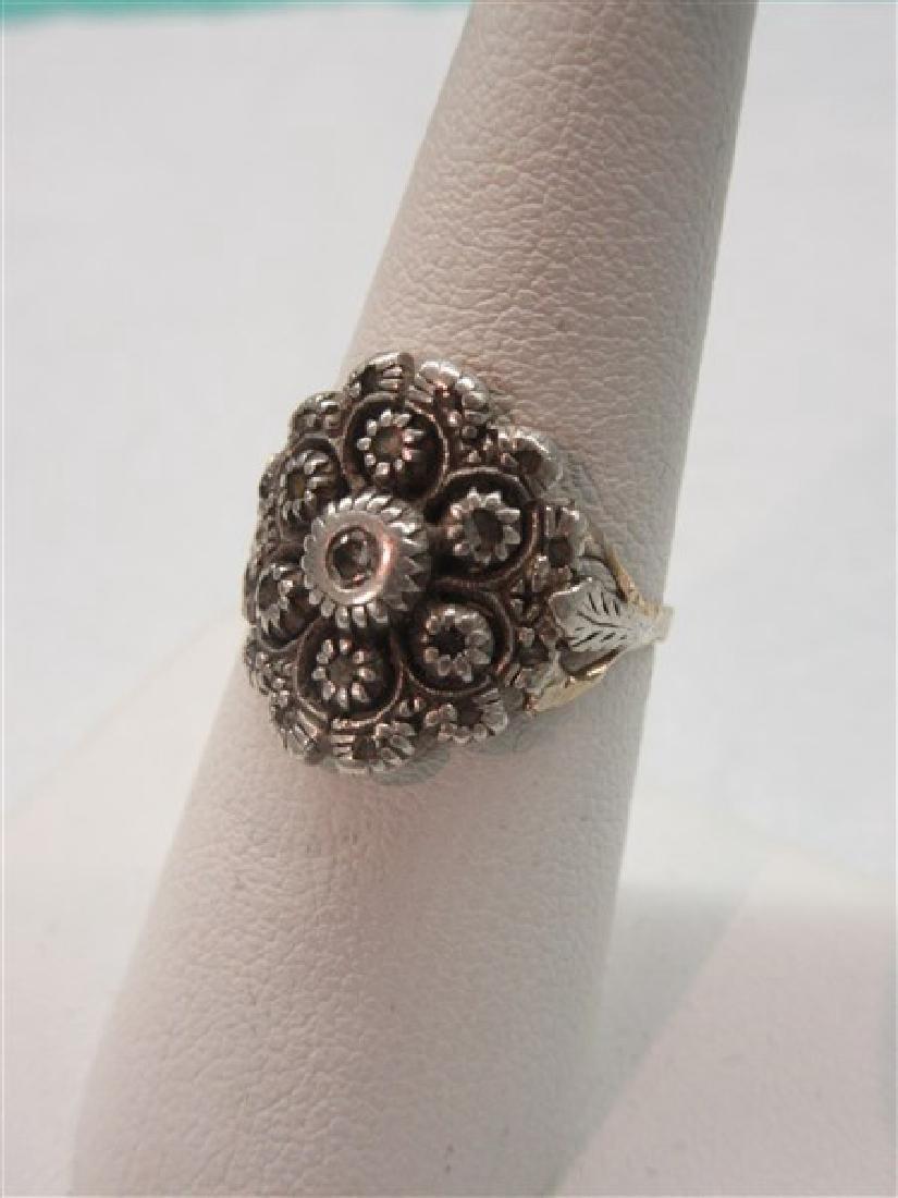 14k Victorian Floral  Diamond Ring
