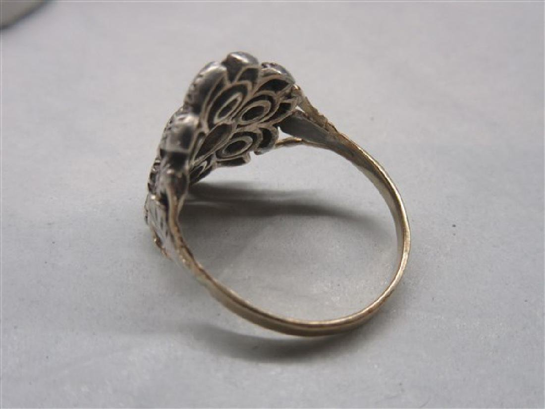 14k Victorian Floral  Diamond Ring - 2