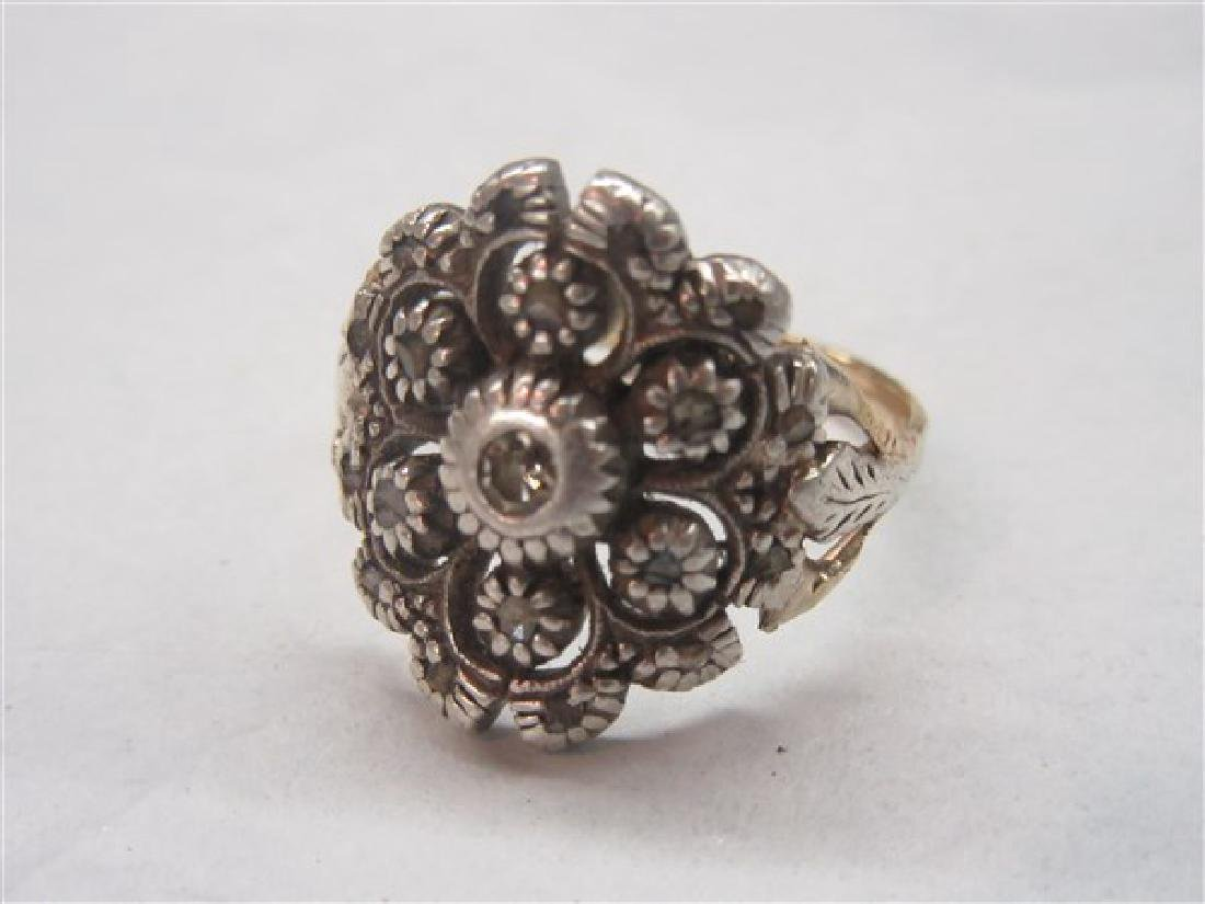 14k Victorian Floral  Diamond Ring - 3