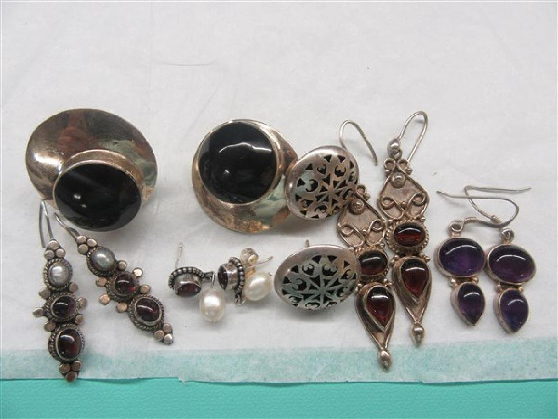 Sterling Silver Gemstone Earrings Lot