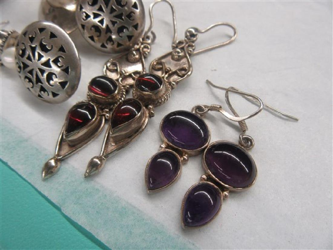 Sterling Silver Gemstone Earrings Lot - 2