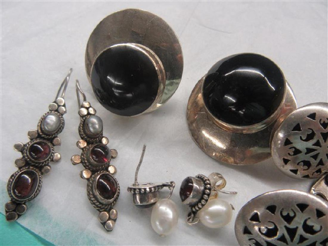 Sterling Silver Gemstone Earrings Lot - 3