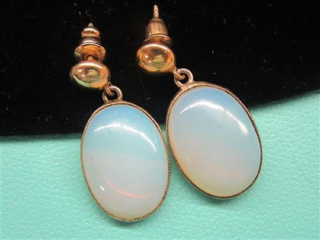 10k Yellow Gold Moonstone Earrings