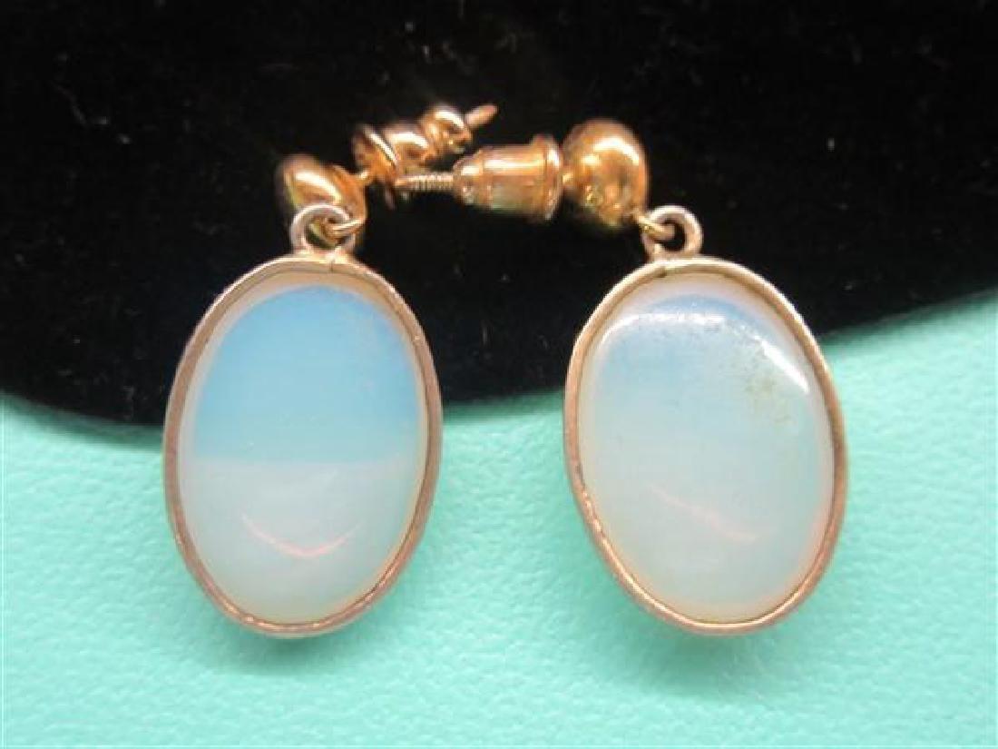 10k Yellow Gold Moonstone Earrings - 2
