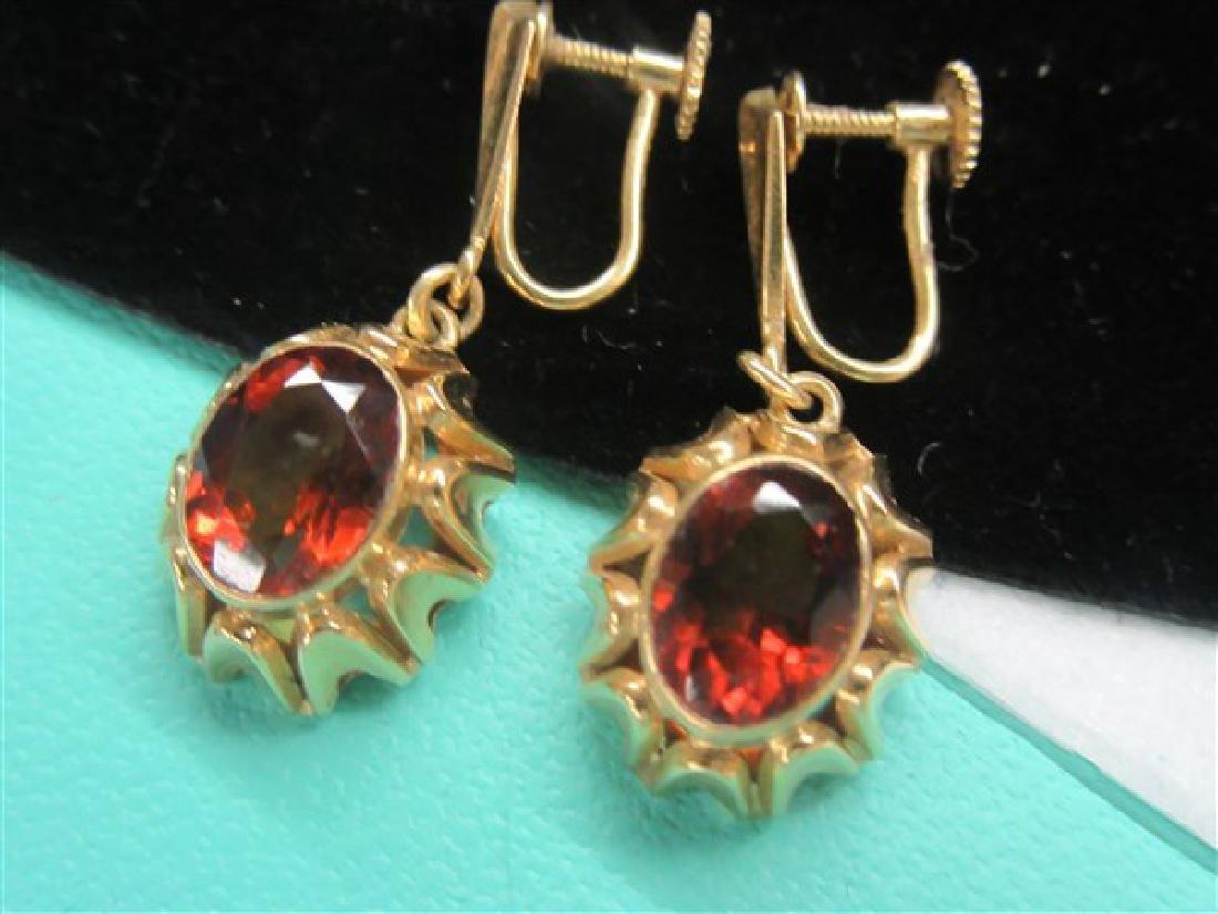 18k Yellow Gold Orange Topaz Earrings