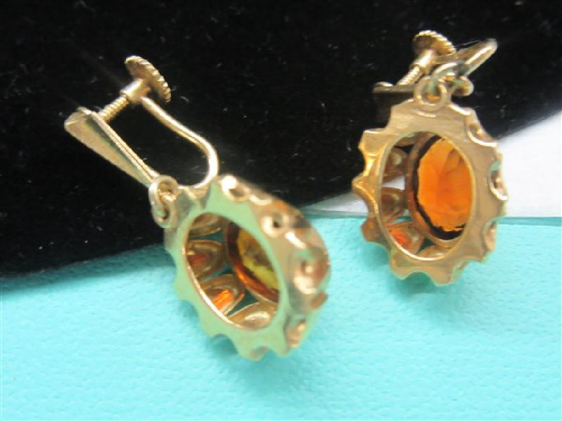 18k Yellow Gold Orange Topaz Earrings - 2