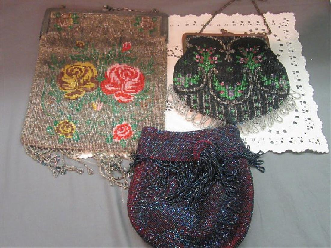 Three (3) Victorian Beaded Purses