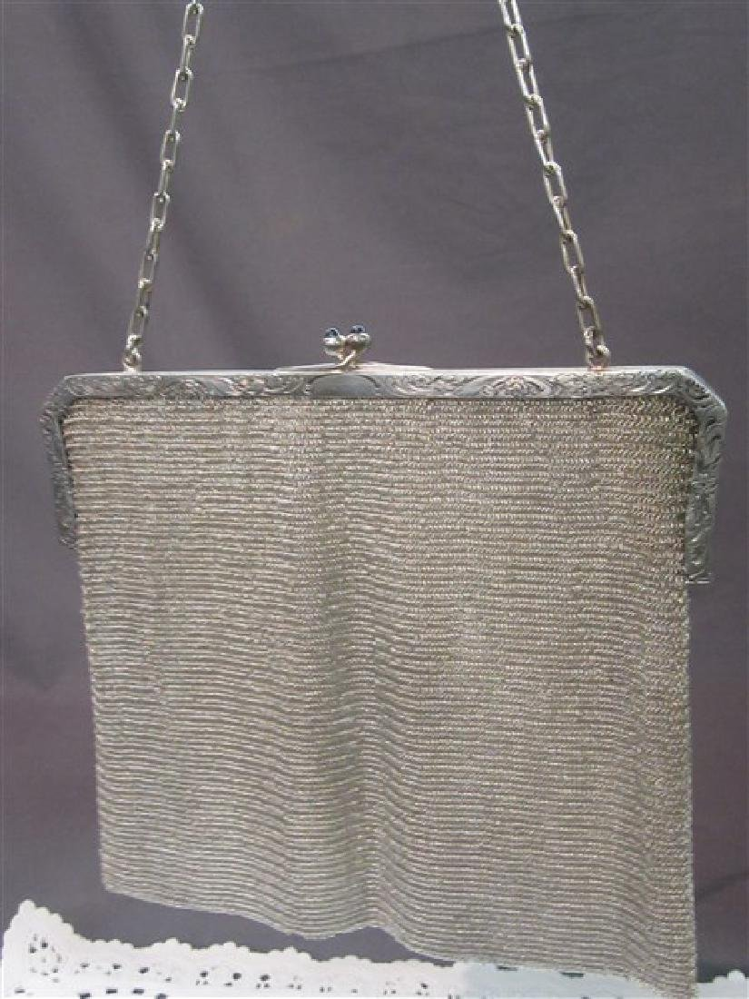 Sterling Silver Mesh Purse With Sapphire Cabochon