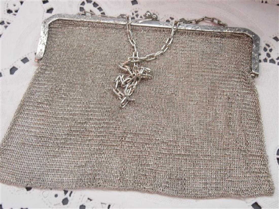 Sterling Silver Mesh Purse With Sapphire Cabochon - 3