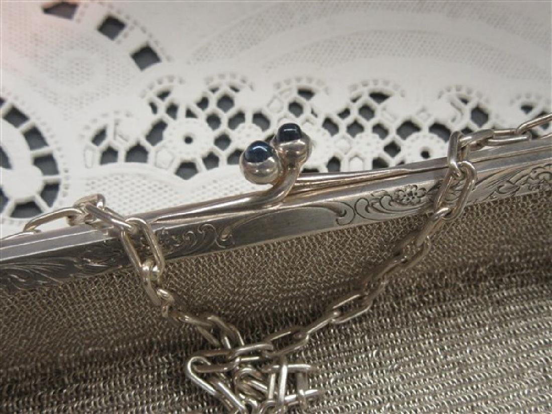 Sterling Silver Mesh Purse With Sapphire Cabochon - 4