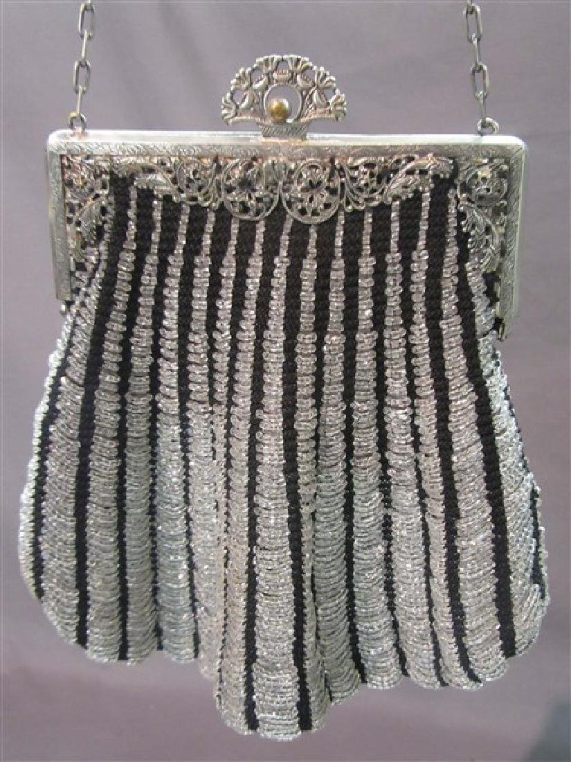 Victorian Black And Silver Beaded Purse