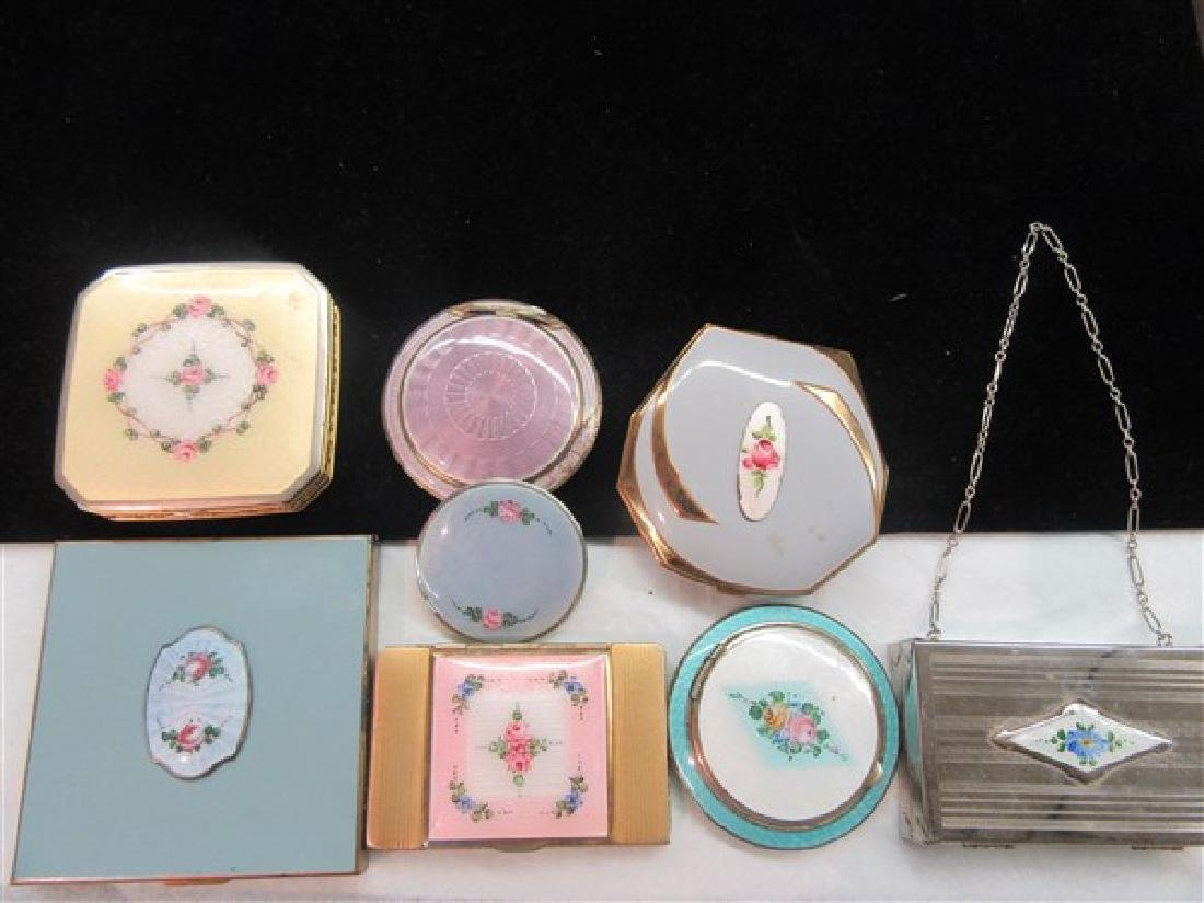 Eight (8) Vintage Enameled Compacts