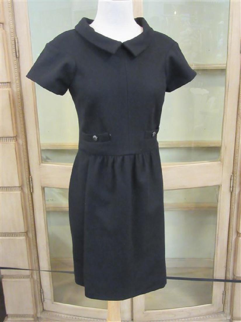 Chanel 100% Wool Laine Black Dress