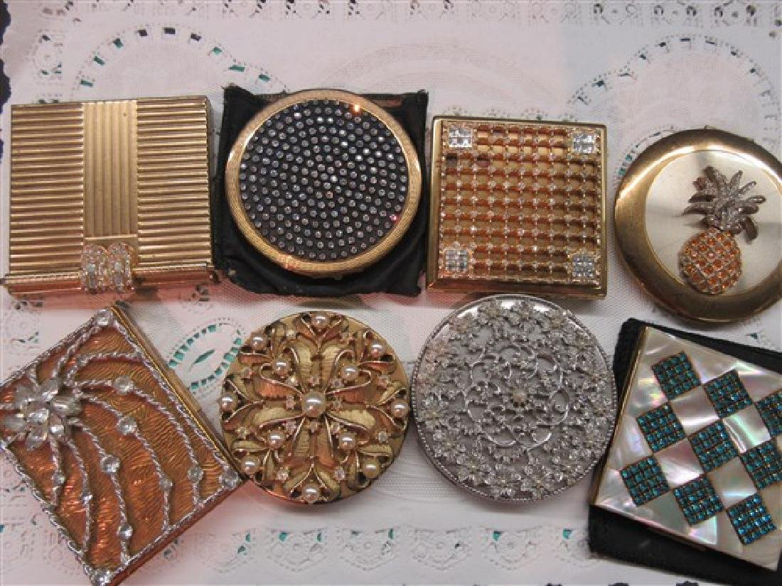 Eight (8) Vintage Jeweled Compacts