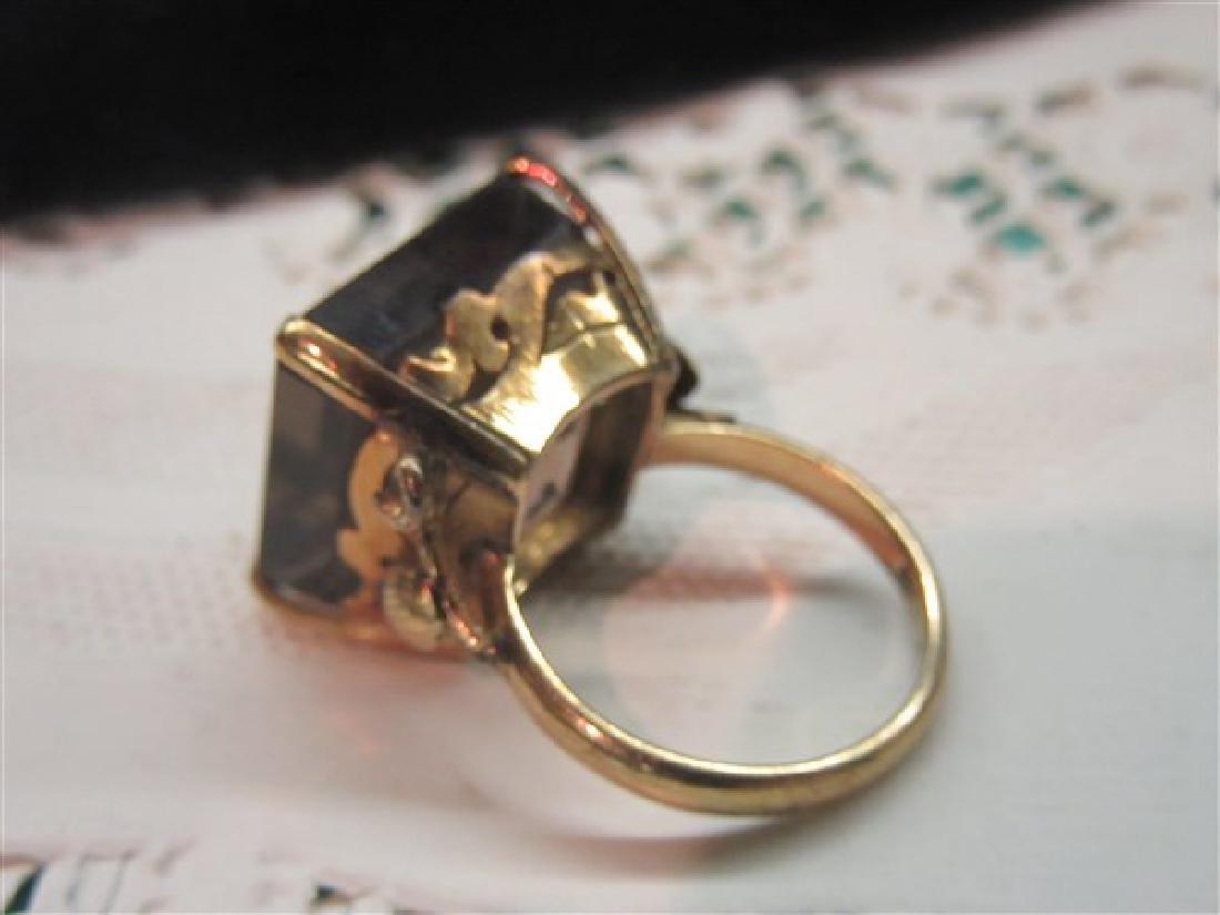 14K Gold Smoky Topaz Ring - 2