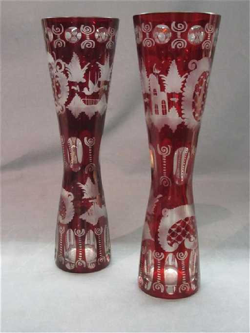 Bohemian Cut To Clear Ruby Glass Vases