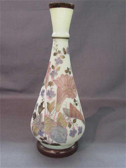 Victorian Enameled Satin Glass Vase